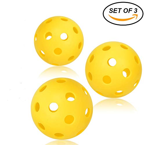 Pickleball Balls - Professional Patented 26 hole design Pickleball Balls Set Of 3 Outdoor & Indoor Pickleballs, High-Vis Optic Yellow Pickleball Balls