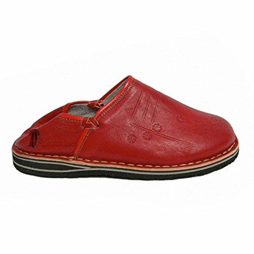 Babouche Touareg homme et femme couleur rouge, babouches confortables et solides, chaussons robustes conçus pour un usage quotid