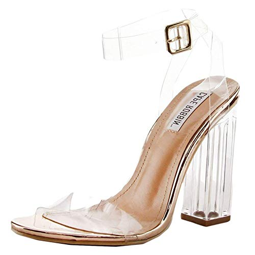 - Cape Robbin Maria-2 Women's Lucite Clear Strappy Block Chunky High Heel Open Peep Toe Sandal,Rose Gold,8