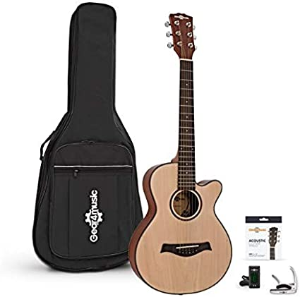 3 4 Single Cutaway Acoustic Guitar Pack By Gear4music Amazon Co Uk Musical Instruments