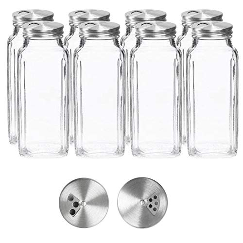 (8 oz Spice Jars with Lids - Square Clear Glass Spice Bottles with Stainless Dispenser Caps by SpiceLuxe (8 Pack, Dispenser cap))