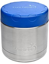 LunchBots Wide Thermal 16 oz. All Stainless Steel Bowl - Insulated Food Container Stays Hot 6 Hours or Cold for 12 Hours - Leak Proof Soup Jar for Portable Convenience - Blue
