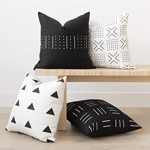 (Woven Nook Decorative Throw Pillow Covers ONLY for Couch, Sofa, or Bed Set of 4 18 x 18 inch Modern Quality Design 100% Cotton Black White Monochrome Mudcloth Zola)