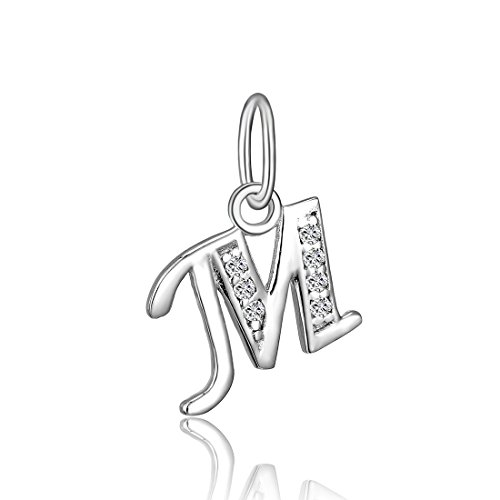 BORUO 925 Sterling Silver Cubic Zirconia A-Z Initial Letters Alphabet Dangling Charms Pendant (Letter-M) (Initials Sterling Silver Keychain)