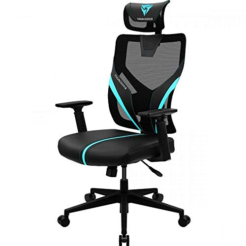 ThunderX3 YAMA1, Silla Gaming Ergonomica Azul, Ultraconfortable, Soporte Lumbar,