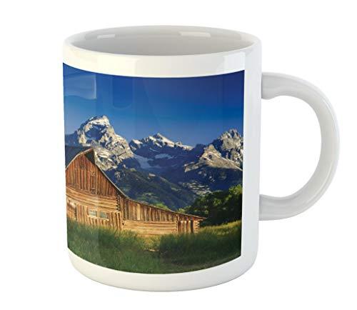 Lunarable Rustic Mug, Moulton Barn and Teton Mountain Range in Grand Teton National Park Wyoming, Ceramic Coffee Mug Cup for Water Tea Drinks, 11 oz, Brown Green