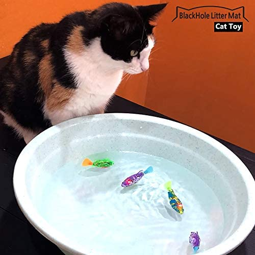 BlackHole Litter Mat Interactive Swimming Robot Fish Toy for Cat with LED Light (4 pcs), Electronic Cat Toy to Stimulate Your Cat's Hunter Instincts 8
