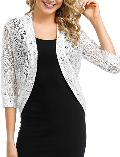 - ATYPE Long Sleeve Bolero Jackets Crochet Open Cardigan Lace Shrugs for Dresses