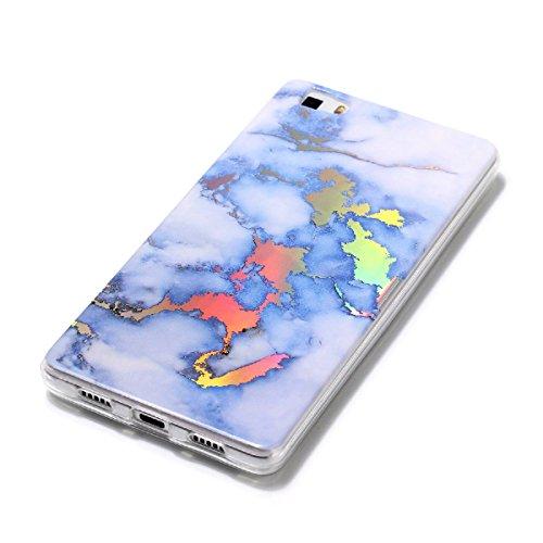 Huawei P8 Lite Funda, YT MARQUEEN Mármol Diseño Cover de Silicona Suave Case Cover Protección Cáscara Soft Gel TPU Carcasa Funda para Huawei P8 Lite - Azul Azul