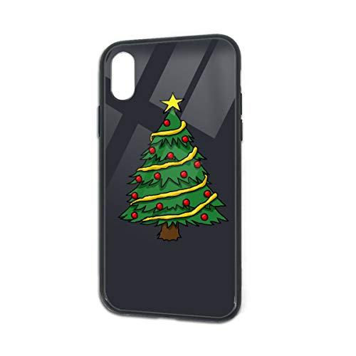 Christmas Trees Logo Funny iPhone X XS Case Glass Phone Cover Cases for iPhone Xs iPhone X ()