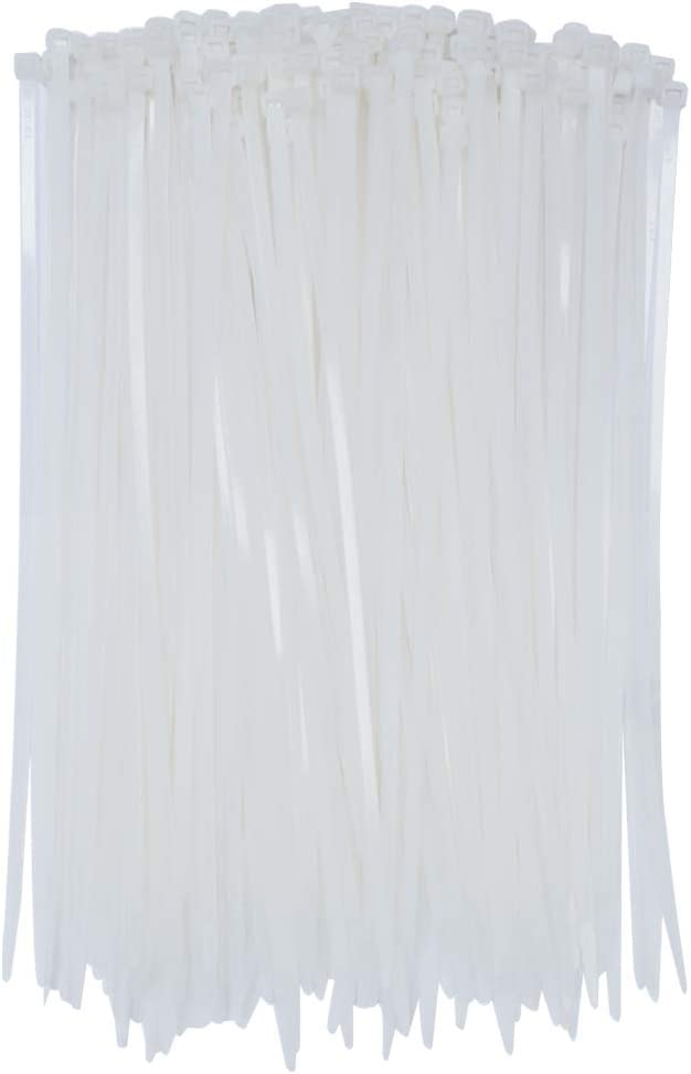 Nylon Cable Zip Ties, SOUBUN 200 Packs 12 Inch White Heavy Duty UV Resistant Self Locking Fasten Wrap Nylon Cable Ties, Outdoor Indoor Purpose (Wide 4.8mm)