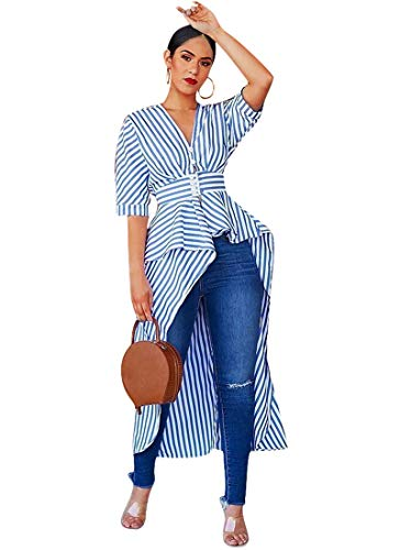 (ECHOINE Women's Stripe Ruffle High Low Asymmetrical Short Sleeve Sexy Bodycon Tops Blouse Shirt Dress with Button Belt Blue L)