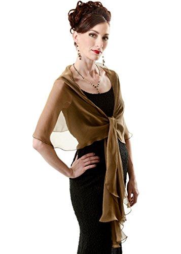 Bronze-Black Evening Wedding Silk Chiffon Scarf Wrap Shawl by Lena Moro