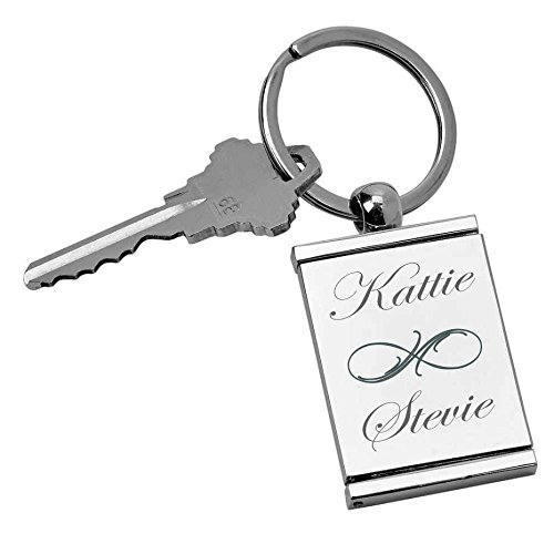 Personalized Rectangular Picture Frame Locket Keychain Engraved Free Photo Key Chain Ring ()