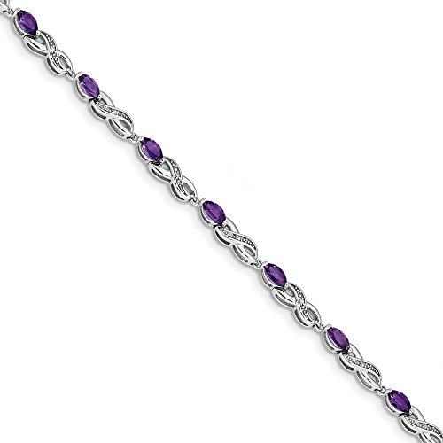 3.9mm 14k White Gold 0.05ct Diamond and 2.2ct Amethyst 7.25inch Bracelet by JewelryWeb