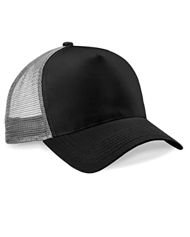 Beechfield Mens Half Mesh Trucker Cap / Headwear (One Size) (Black/ Light Grey)