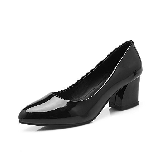 AllhqFashion Womens Pointed Closed Toe Kitten Heels Solid Pull on Pumps-Shoes Black L3uqtgE