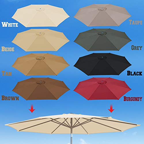 BenefitUSA 10' Umbrella Canopy Top Cover Patio Replacement Top Cover 8 Ribs Outdoor Sunshade (Off White)