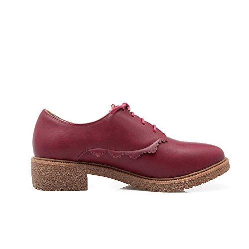 Rein Schnüren Schuhe Rund Zehe Absatz Rot Pumps Niedriger AllhqFashion Damen YHgnfwU
