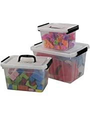 Wekiog Plastic Storage Bins with Handle, Multipurpose Clear Latching Box (12 Quart, 6 Quart, 3.5 Quart)