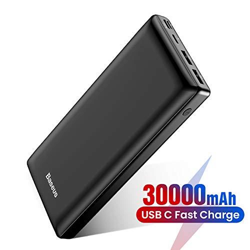 Baseus Batería Externa 30000mAh,Power Bank Cargador Móvil Portátil con USB C PD para iPhone iPad Samsung Dispositivos Android Tablets y Más Blanco