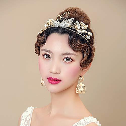 Bridal Fashion Exquisite Gold Diamond Swan Pearl Hair Band Headbands Hair Accessories Hair Band Headband Wedding Jewelry Earrings
