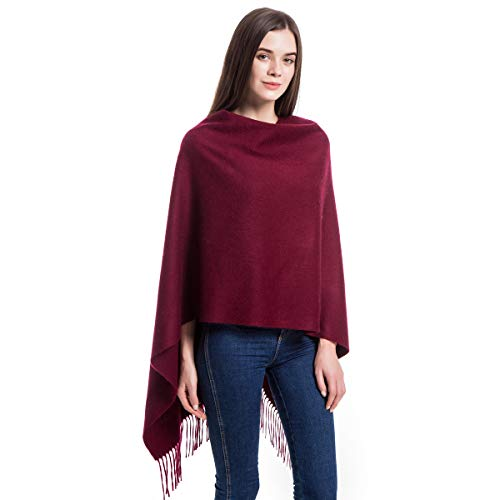 "Women Soft Cashmere Wool Wraps Shawls Stole Scarf - Large Size 78""x 28"" (DarkRed)"