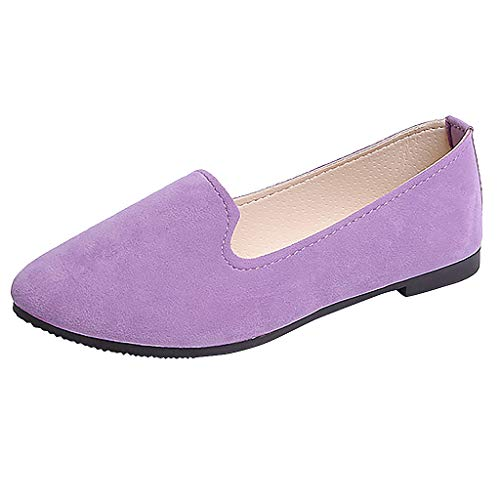 (ONLY TOP Women's Classic Flats Memory Foam Cushioned Soft Daily Slip-on Casual Sneaker Flat Shoes Purple)