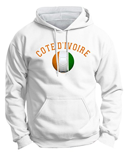 Soccer Gifts Soccer Fan Gifts Cote d'Ivoire Pride Football Soccer Flag Ball Premium Hoodie Sweatshirt Small White (Cote Divoire Mug)