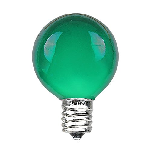 Novelty Lights 25 Pack G50 Outdoor Patio Globe Replacement Bulbs, Green, E17/C9 Base, 7 Watt
