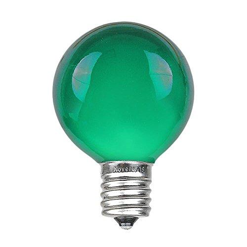 Novelty Lights 25 Pack G50 Outdoor Patio Globe Replacement Bulbs, Green, E17/C9 Base, 7 Watt