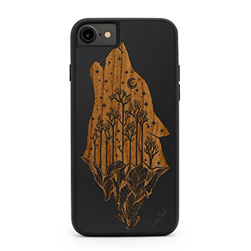 (iPhone 8/7 Case, CaseYard Premium Hybrid Case for Apple iPhone 8/7 Made in California (iPhone 8/7 Regular-Protective) (Black) Howling Wolf)