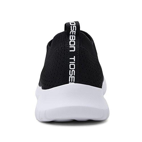 TIOSEBON Women's Walking Shoes Lightweight Breathable Flyknit Yoga Travel Sneakers 7.5 US Black by TIOSEBON (Image #1)