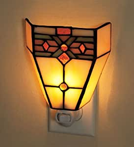 Tiffany Style Stained Glass Mission Style Night Light