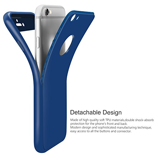 iPhone 6S Plus Hülle , ivencase [Armor Series] Case Soft Silikon [Dunkelblau] Premium TPU Handyhülle Shockproof Cover Front & Back + Tempered Glas Display Schutz Neuer Design Vollschutz Schild für iPh