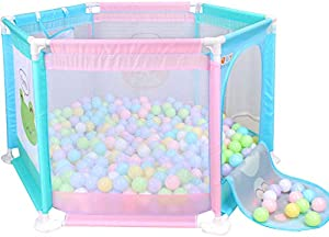 Infants Playards Playpen Tent Infant Toddler Fence Household Shatter-Resistant Toys House Baby Game Playpen Children's Safety Fence Crawling Bar Zipper Door(Balls Not Included) Tent Mattresses