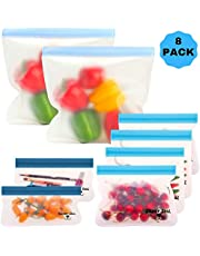 Saver Seal PREMIUM Reusable Storage Bags (8 Pack, 2 Large Gallon Size, 4 Lunch, 2 Snack) Ideal for Sandwich, Snacks, Kids Lunch, Meal Prep | Eco Friendly with Extra Wide Leakproof Ziplock Tops (8, blue)