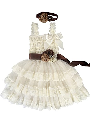 brown and champagne flower girl dresses - 7