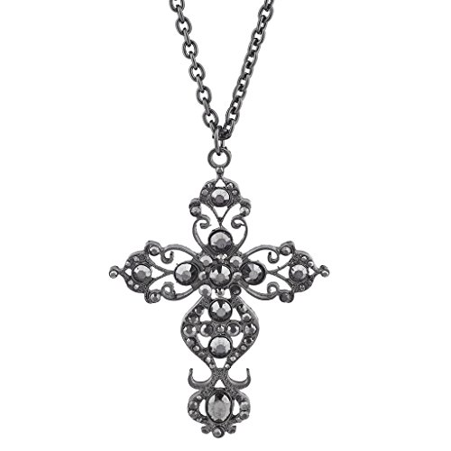 Faux Hematite Necklace (Lux Accessories Hematite Tone Faux Rhinestone Filigree Cross Pendant Necklace)