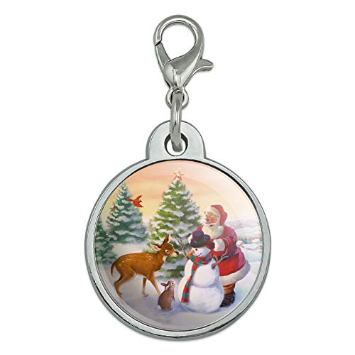 - GRAPHICS & MORE Christmas Holiday Santa and Animals Finishing Snowman Chrome Plated Metal Pet Dog Cat ID Tag - Small