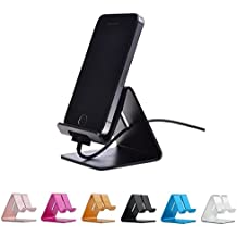 Rumfo Cell Phone Stand, Universal Portable Aluminum Desktop Charger Mount Holder Metal Charging Dock Cradle for Nintendo Switch iPhone iPad Samsung Android Smartphones and Tablets (Black)