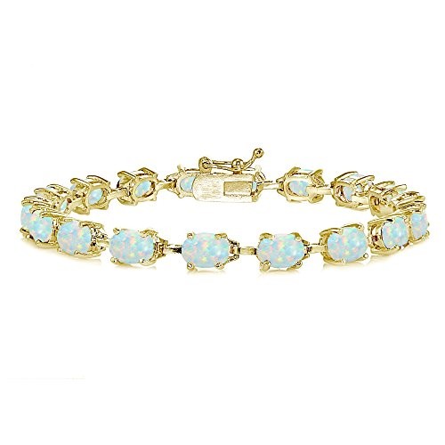 Yellow Gold Flashed Sterling Silver Simulated White Opal 7x5mm Oval Classic Link Tennis Bracelet - Yellow Gold Opal Bracelets