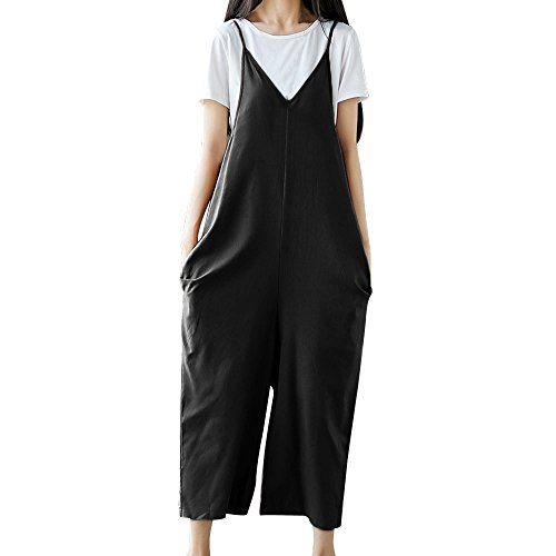 Drindf Women's Loose Linen Wide Leg Jumpsuit Rompers Bib Long Suspender Overalls Harem Pants Plus Size S-5XL (V-Neck(BK), XL)