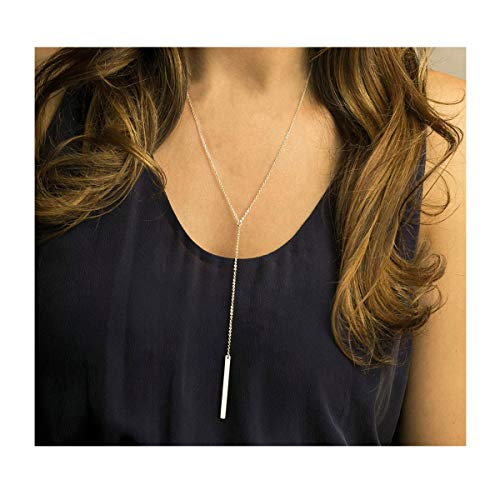 - Long Lariat Y Pendant 925 Sterling Silver bar Necklace for Women Girls