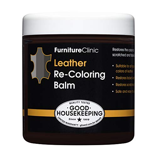 Furniture Clinic Leather Recoloring Balm (8.5 fl oz) - Leather Color Restorer for Furniture, Repair Leather Color on Faded & Scratched Leather Couches - 16 Colors of Leather Repair Cream (Dark Grey)