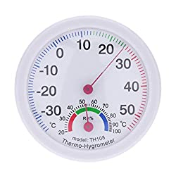 Gessppo Mini Thermometer Hygrometer Indoor Outdoor Meter Humidity Clock Shaped Temperature Portable