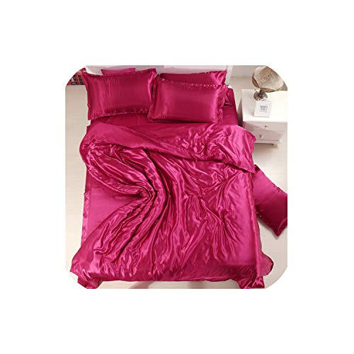 - LOVE-JING Soft Emerald Green Silk Satin 4Pcs Bed Sheet Solid Color Double Simulation Silk Satin Bedding Duvet Cover Pillowcase,As,Twin,Flat Bed Sheet