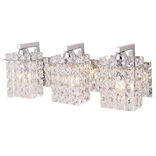 Wall Sconce with Crystal Drops,Polished Chrome Finish,Femony 3-Light Wall Light Fixtures for Living Room Bedroom,Hallway and Bathroom