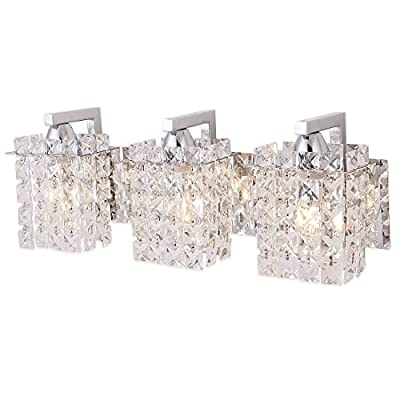 """Wall Sconce with Crystal Drops,Polished Chrome Finish,Femony 3-Light Wall Light Fixtures for Living Room Bedroom,Hallway and Bathroom - OVERVIEW:Like jewelry for home,this bathroom lighting sparkles on night with each glass crystal drops.We believe that great design is for everyone,this crystal vanity light is like the decoration for your home and suitable for bathroom over mirror. DIMENSIONS:18.1"""" wide x 4.3"""" deep x 5.9"""" high,3 E12 bulbs are required( Bulbs are not included).Max 60 watts bulb.The vanity light is great for the living room, hallway or bathroom. PREMIUM DESIGN: The vanity light has a minimalist and modern design that suits any home or apartment, offering an exquisite finishing touch. A clean, simple design makes this attractive modern sconce a welcome addition to any room, mounting easily on a wall to shed pleasing light on your bedtime reading. - bathroom-lights, bathroom-fixtures-hardware, bathroom - 416udDzlJ2L. SS400  -"""