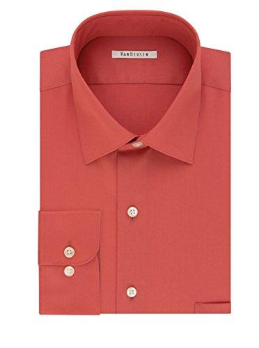 Van Heusen Men's Regular-Fit Lux Sateen Dress Shirt (Dusty Rose, Neck 15 Sleeve - Merlot Caramel Wine